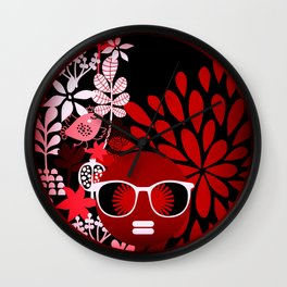 Afro Diva : Sophisticated Lady Red Wall Clock