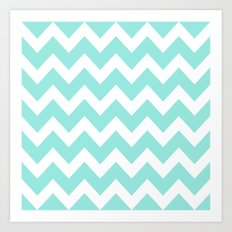 Blue Tiffany Chevron Art Print