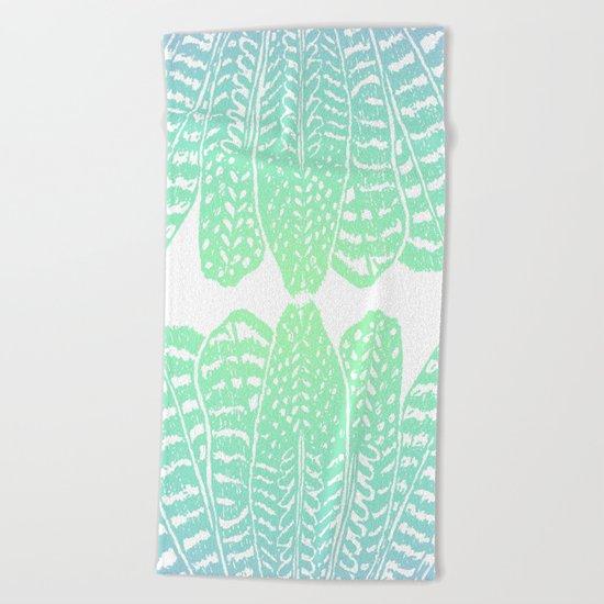 TRIBAL FEATHERS - SEAFOAM Beach Towel