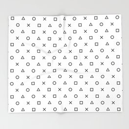 Playstation Controller Pattern (Black on White) Throw Blanket