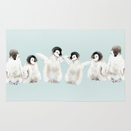 Playful Penguin Chicks - Watercolor Painting Rug