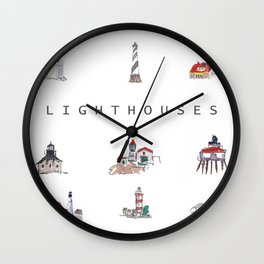 Collection of Lighthouses around the World Wall Clock