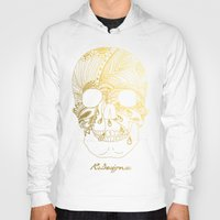 gold foil Hoodies featuring Gold Foil Patterned Skull by RsDesigns