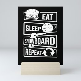 Eat Sleep Snowboard Repeat - Winter Snow Sports Mini Art Print