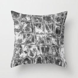 Alligator Skin // Black and White Worn Textured Pattern Animal Print Throw Pillow
