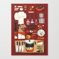 italian Canvas Prints featuring Italian Kitchen by Peter Donnelly Illustration