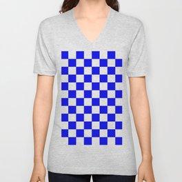 Checkered (Classic Blue & White Pattern) Unisex V-Neck