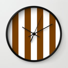 Vertical Stripes - White and Chocolate Brown Wall Clock