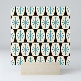 Mid Century Modern Atomic Fusion Pattern 311 Blue and Black Mini Art Print