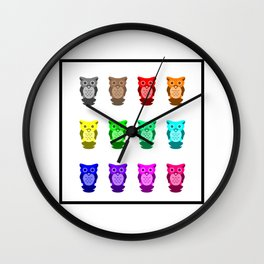 Square of Rainbow Owls Wall Clock