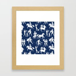 Greek Figures // Dark Blue Framed Art Print