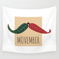 moustache Wall Tapestries featuring Movember Moustache by Pauline Jurkevičius