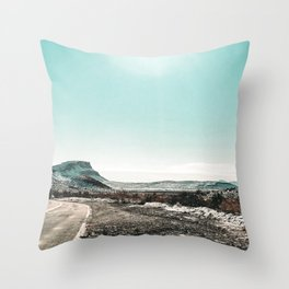 Desert Sunlight Snowfield // Vintage Nature Winter Scenery in Mojave Las Vegas Landscape Photograph Throw Pillow