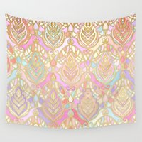deco Wall Tapestries featuring Rosy Opalescent Art Deco Pattern by micklyn