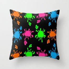 Modern Paint Splat Art Throw Pillow