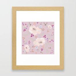 Soft pink blooming watercolor roses Framed Art Print