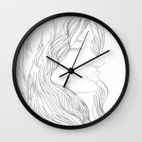 art nouveau Wall Clocks featuring Art Nouveau by YriArt