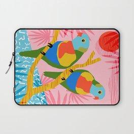 Besties - retro throwback memphis bird art pattern bright neon pop art abstract 1980s 80s style mini Laptop Sleeve