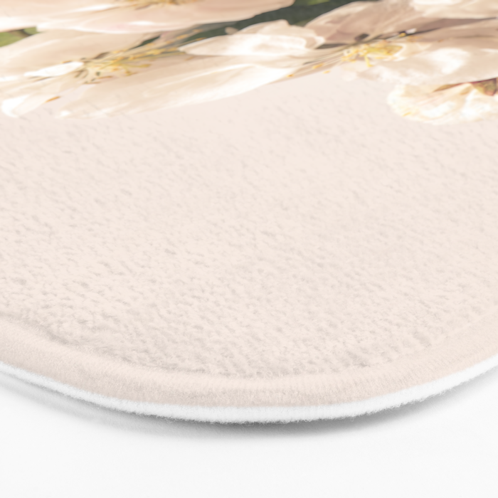 White flowers, spring photography Bath Mat