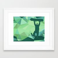 snowboard Framed Art Prints featuring Snowboard by B Remembered Designs