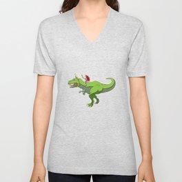 Girl Riding T-Rex With Unicorn Horn Fairy Fantasy Unisex V-Neck