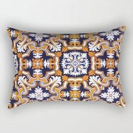 Portuguese Tiles Azulejos Blue Orange Pattern Rectangular Pillow