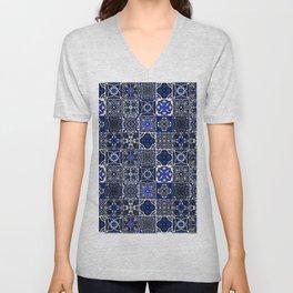 N26 - Blue Wonderful Traditional Moroccan Vintage Tiles Artwork Unisex V-Neck
