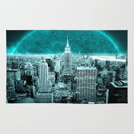 New New York Another World Aqua Teal Rug