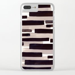 Grey Primitive Stripes Mid Century Modern Minimalist Watercolor Gouache Painting Colorful Stripes Wa Clear iPhone Case