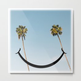 Smiley Face Palms Metal Print