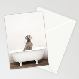 Weimaraner Dog in a Vintage Bathtub Stationery Cards
