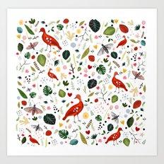 red bird pattern Art Print