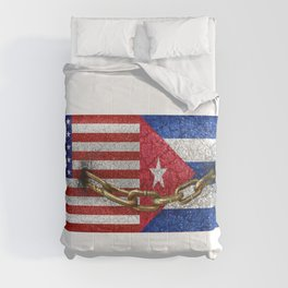 United States and Cuba Flags United Comforters