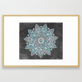 Mermaid Mandala on Deep Gray Framed Art Print