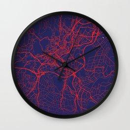 Santiago de Compostela, Spain, Blue, White, City, Map Wall Clock