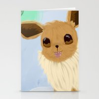 eevee Stationery Cards featuring Eevee in the Clouds by Jessika
