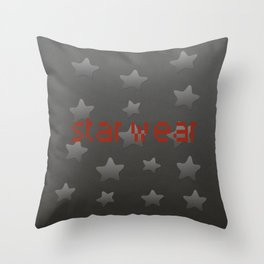 Cool Grey Silver Star Wear Throw Pillow