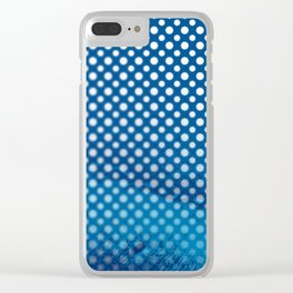 White polka dots and snorkel blue background with blur Clear iPhone Case