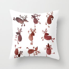 Santa's Dancing Reindeer Watercolor Throw Pillow