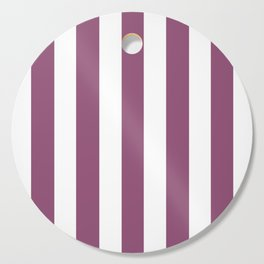 Sugar Plum violet - solid color - white vertical lines pattern Cutting Board