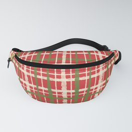 Retro Christmas Painted Plaid Pattern Red Cream Green Fanny Pack