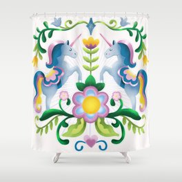 The Royal Society Of Cute Unicorns Light Background Shower Curtain