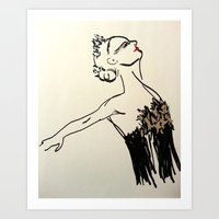 black swan Art Prints featuring swan by Amy Sea