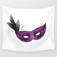 mask Wall Tapestries featuring mask by Li-Bro