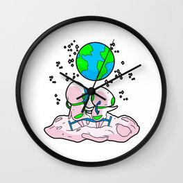 Astronauts Earth World Werlall Moon Cloud Wall Clock