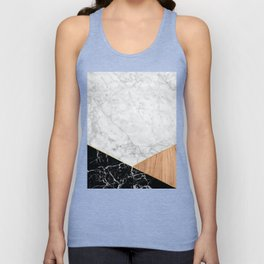 White Marble - Black Granite & Wood #711 Unisex Tank Top