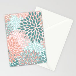 Festive, Modern, Floral Prints, Teal and Coral Stationery Cards