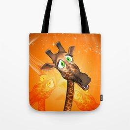 Funny cartoon giraffe Tote Bag
