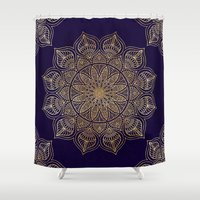 islam Shower Curtains featuring Gold Mandala by Mantra Mandala