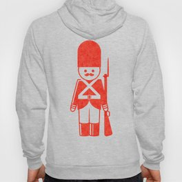 English toy soldier with shotgun, drawing with letterpress effect. Hoody